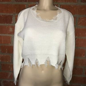 New distressed knit sweater top